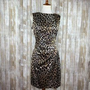 Cache Satin Leopard Print Sheath Dress Size 12